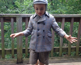 1950's Winter Coat and Hat Set / Plaid / Light Blue - White - Brown / Children's Toddler's Size 3-4-5