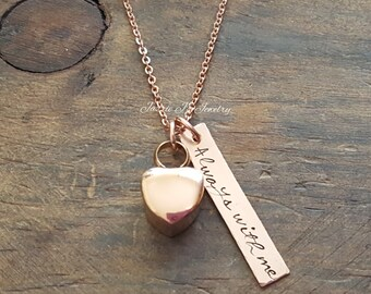 Rose Gold Urn Hand Stamped Necklace, 14K Bar Always With Me Urn Necklace, Memorial Gift, Remembrance gift, Loss Of A Loved One, Heart Urn
