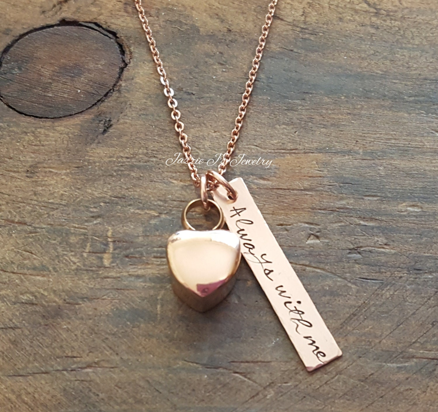 Rose gold urn hand stamped necklace 14k bar always with me for How to make hand stamped jewelry