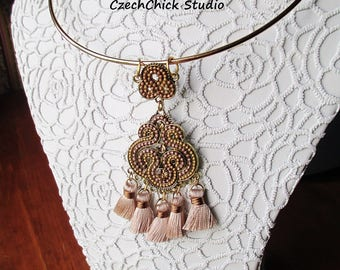 Elegant Gold Collar Necklace, Taupe Tassel Statement Necklace, Soutache Chandelier Necklace, Beaded Art Deco Necklace, Amber Glass Necklace