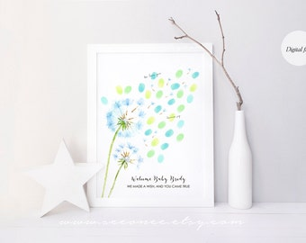 Dandelion Thumbprint guestbook, Fingerprint guest book alternative, baby shower gift, birthday, wedding, teacher gift poster, Digital file