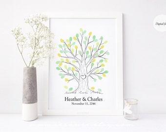 Thumbprint tree guestbook alternative - Fingerprint tree guestbook for wedding, baby shower, birthday, bridal shower, retirement gift, DIY