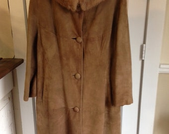 Suede coat with mink collar, caramel color