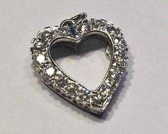 Vintage Diamond White Gold Heart Pendant, 14K White Gold Diamond Heart, 3/4CT Diamond Heart Pendant, Diamond Jewelry
