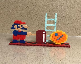 Donkey Kong Perler Bead Scene with Mario - inspired by arcade game