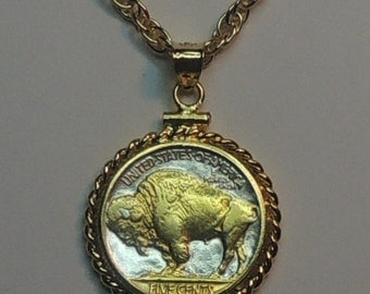 Old U.S. Buffalo (Gold on Silver) nickel  Necklace