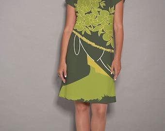 Green dress, Yellow dress, party dress, women dresses,midi dress, designer dress, pocket dress, comfortable dress, summer dresses