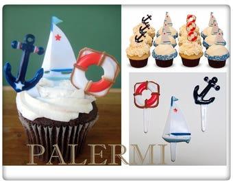 Nautical Cupcake Toppers | Sail Boat Cupcake Toppers | Anchor Cupcake Toppers | Ahoy Cupcake Toppers