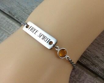 "Swarovski Crystal Birthstone Charm Bracelet-Personalised Charm Bracelet-Laser Engraved With The Words ""Free Spirit"" Inspirational Jewellery"