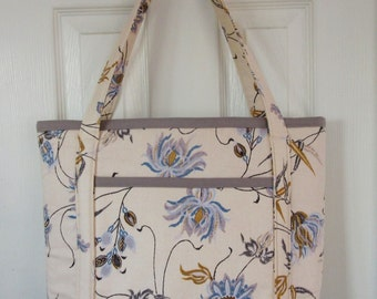 Cotton Floral Tote Bag with Zipper Closure