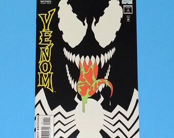 Venom Comic Book, Glow in Dark Venom Comic, Vintage Marvel Venom, Grade NM, 1994 Modern Venom Comic Book, Enemy Within Part 1, B1