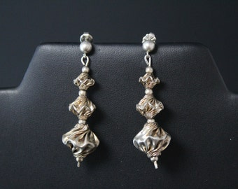 Sterling Silver Modernist Ruched Beaded Dangle Post Earrings