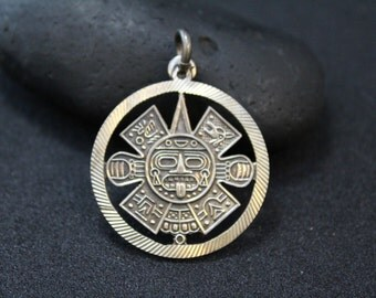 950 Silver Mexican Aztec Mayan Cut Out Tribal Pendant