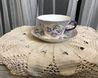 RARE Vintage 1901 Limoges Haviland France Violet Teacup and Saucer, Hand Painted and Signed