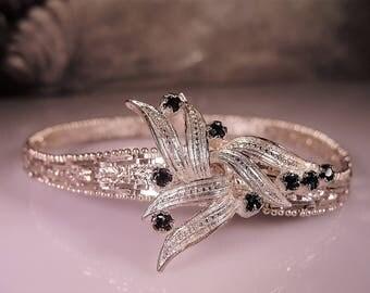 ITALY, Sterling Silver Bracelet, Riccio Bracelet, Sapphire Silver Bracelet, Riccio Link Bracelet, Art Deco Style Bracelet, Vintage Bracelet