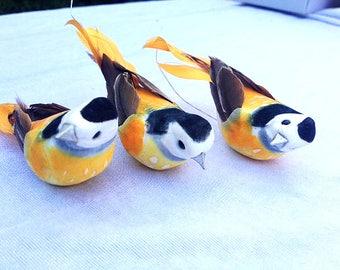 3 Birds Orange 4.5 Inches Cake Topper Embellishments Scrapbooking Feather Birds Fake Birds