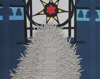The Iron Throne : Fantasy PaperScapes, Handmade, Game of Thrones, Song of Ice and Fire, Framed Papercut Art
