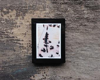 Pinetree in the Snow:  Chohua Jasper Pendant - Rectangular - Intarsia - Black and White - side-drilled