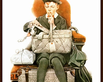 Norman Rockwell painted the Large Post cover titled Traveling Companion in 1920.The page is approx. 11 1/2 inches wide and 15 inches tall.