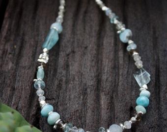 Larimar, Rainbow Moonstone, Aquamarine + Smokey Quartz Necklace with Thai Hill Tribe Silver