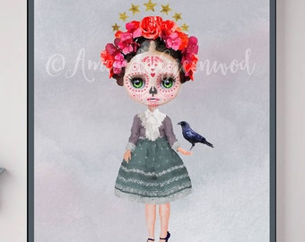 Miss Abby Heart by Amanda Greenwood, sugar skull, day of the dead, watercolor,stars,Nursery decor, mexican, Boho,Portrait, Art Prints, Frida