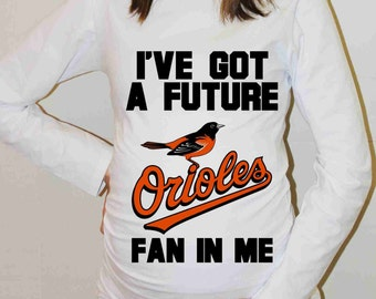 Baltimore Orioles Shirt Baltimore Orioles Baseball Long Sleeve Maternity Shirt Pregnancy Baby Shower