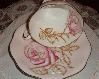 Foley Bone China England - Vintage Tea Cup and Saucer - Large Pink Roses and Buds with Brown Leaves on Pink Background