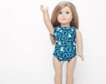 Gymnastics leotard for 18 inches doll, american doll clothes, animal print clothes, journey girls, bitty baby, toddler, kids, girls, cheetah