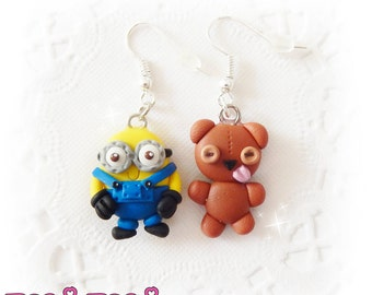 Cute Earrings, Kawaii Earrings, Polymer Clay Jewelry, Miniature Earrings, Tiny Jewelry, Cartoon Jewelry, Kids Jewelry, Daughter Gift, Cute