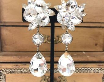 Gorgeous Vintage Rhinestone Crystal Burst Clip Earrings