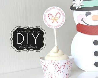 DIY Printable Merry Cupcake Wrappers & Toppers (Digital File): do it yourself print and cut desert decor, candy canes, sweet treat- LRD022DD