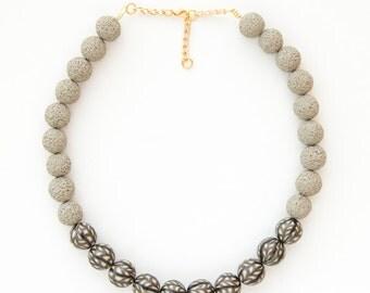 Khaki beaded necklace/ Fully handmade necklace/ Beaded necklace/ Polymer clay necklace/