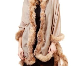 Beautiful Lightweight Luxury Mocha Colour Cashmere Shawl with Fox Fur Trim on Four Sides