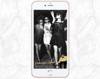 It's Lit, Drake, Black & Gold Glitter Confetti, Champagne Mami Papi, 16th, 18th, 21st Birthday Snapchat Geofilter - Fully Customisable