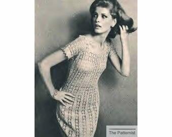 """Vintage Knitting Pattern for Lace Dress Jumper 1960s Bust 30 32/34 36/38"""" PDF Digital Download SKU 73-2"""