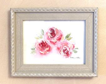 Pink Roses, Watercolor Roses, Pink Rose Print, Red Roses, Watercolor Print, Floral Decor, Small Artwork, Flower Print, Pink Rose Decor, Rose