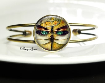Dragonfly Insect Bracelet Bug Bangle - Dragonfly Art Bracelet Bangle - Dragonfly Art Bangle Insect Bracelet Jewelry - Dragonfly Art Bracelet