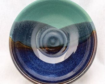 Mountain landscape pottery bowl- glazed in green, blue, and black (16 oz)- small serving bowl, soup bowl, cereal bowl