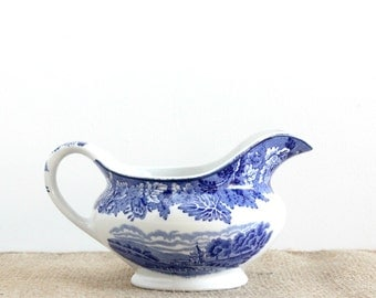 Blue & White English Pitcher, Wood And Sons Traditional English Scenery