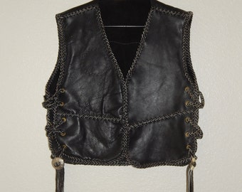 Handmade Vintage 80s Mens Leather Vest