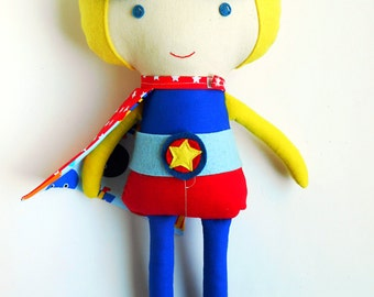 Super hero blond boy doll, superhero doll can be personalized, gift for kids, toddlers or preschoolers gift, with superhero mask and cape