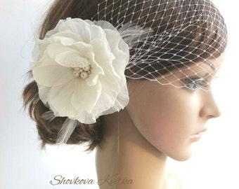 Bridal birdcage veil, Wedding Veil Headpiece, White Birdcage Veil, Ivory Flower Fascinator, champagne Wedding Headpiece