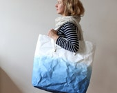 Oversized Beach Tote bag, Indigo Ombre, Dip dyed, Washable Paper bag, Weekend bag, holidays, Seaside, Boho style, Warm Grey Company