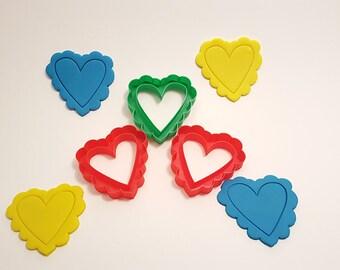 Heart Cookie Cutter w/Fluff Heart Outline – Clay Cutter - Fondant Cutter - Play Dough Cutter -  3D Printed
