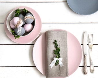 Linen Hemstitched Napkins set of 12 - Wedding napkins - Easter napkins