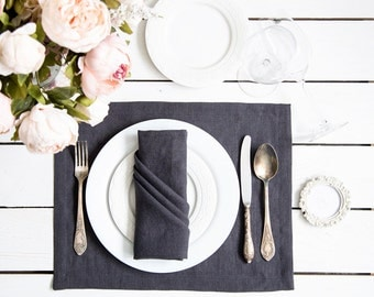 Dark Grey Linen Placemats set of 2 - Natural flax and softened placemat