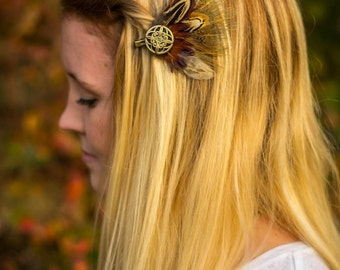 Pheasant Feather Hair Clip with Round, Gold Piece