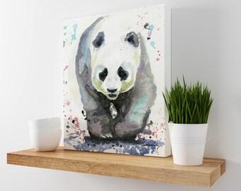 Panda Art - Modern Decor - Wildlife Art - Animal Art - Office Decor - Panda Gift - Nursery Decor - Gray Wall Decor - Animal Wall Decor