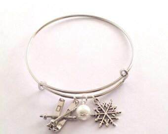 Ski Bracelet, Ski Bangle Bracelet, Skier Gift