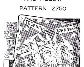 Filet Crochet Pillow or Panel Pattern Liberty Enlightening the World Freedom Happines God Bless America Laura Wheeler 2750
